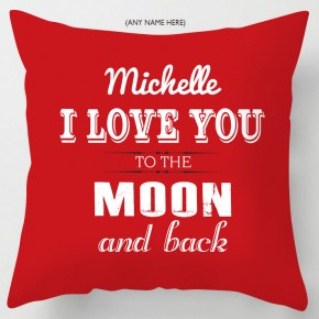 Love you to the moon and back personalised valentine cushion