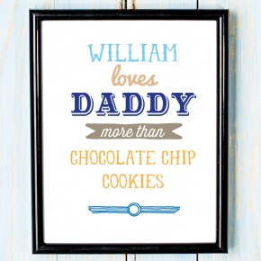 Personalised Fathers day love daddy more than canvas art print or unframed print.