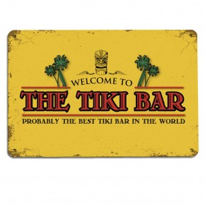 The Tiki Bar yellow wall metal sign
