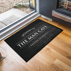 Man Cave brick effect black door mat