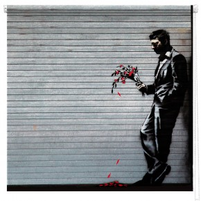 Banksy man with flowers printed blind