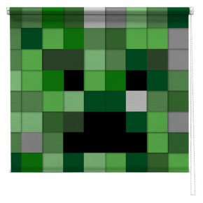 Computer game green pixel blocks printed blind