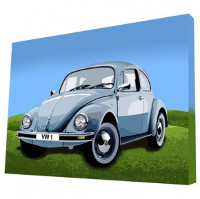 Beetle car canvas art