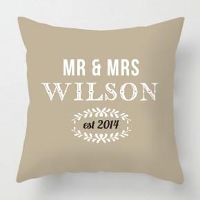 Mr & Mrs wedding personalised cushion