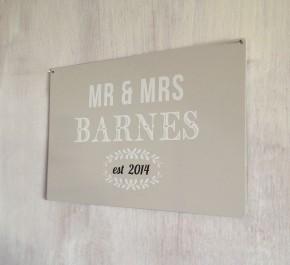 Personalised Mr & Mrs Established Sign
