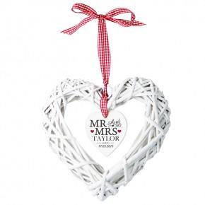 Mr & Mrs Wicker Heart personalised Decoration
