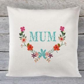 Mum floral linen cushion