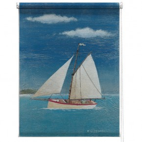 Sailing boat printed blind martin wiscombe