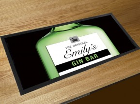 Personalised Gin bottle Bar runner bar mat