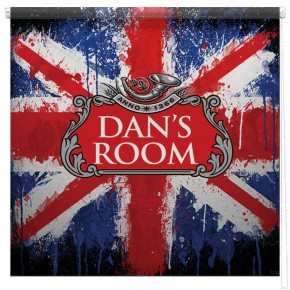 Union Jack Beer label personalised printed blind