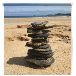 Beach Pebble stack printed blind
