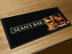 Personalised Whisky glasses bar runner mat