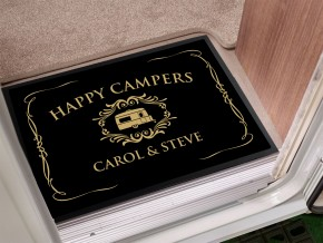 Personalised black Caravan Door Mat
