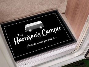 Personalised Camper van black Door Mat