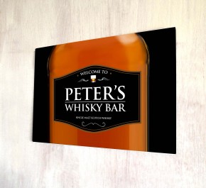 Personalised Whisky bottle bar sign