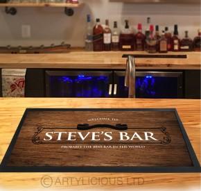 Personalised wood effect bar runner mat