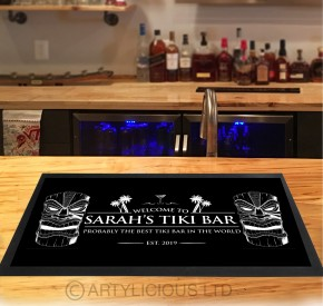 Personalised Black Tiki bar runner mat