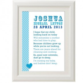 Personalised baby poem christening print