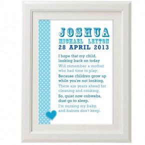 Personalised baby poem christening print