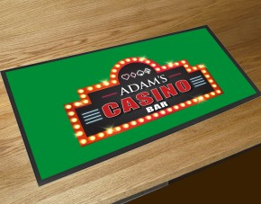 Personalised Home Casino green bar runner mat