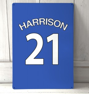 Personalised Blue football shirt Sign