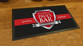 personalised black/red chrome shield bar runner