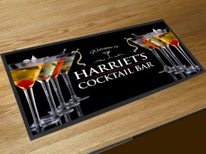 Personalised Cocktail Martini Glasses bar runner