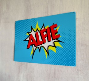 Personalised Blue Comic Name Sign