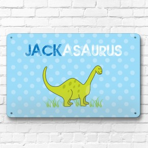Personalised Dinosaur children's metal door wall sign