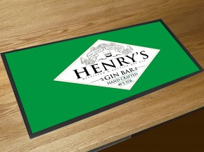 Personalised Gin Bar (eat sleep) Green runner bar mat