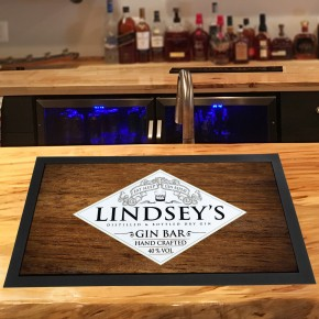 Personalised Gin Bar (eat sleep) Wood runner bar mat