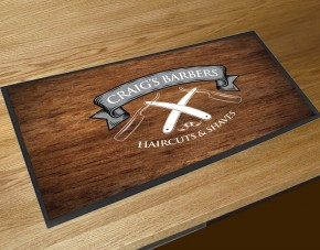 Personalised Barbers shop razors Wood effect bar runner mat