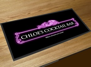 Personalised Cocktail pink label bar runner
