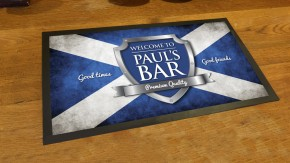 Personalised Scottish flag chrome shield bar runner