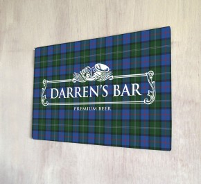 Personalised White Beer Label Tartan Bar Sign