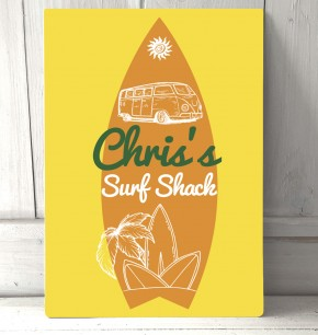 Personalised Surf shack yellow beach sign