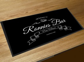Personalised black Welcome bar runner