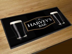 Personalised welcome Stout glasses bar runner mat