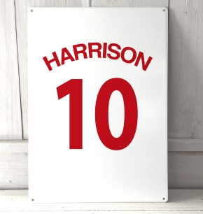 Personalised White football shirt Sign
