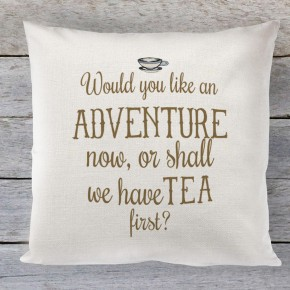 Would you like an Adventure first, quote linen cushion