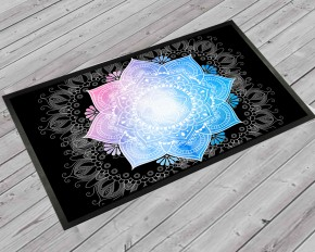 Mandala boho black door mat