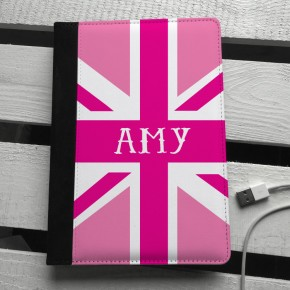 Pink union jack personalised ipad mini case