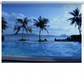 Pool sea view printed blind