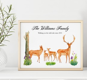 Personalised Red Deer Family poster Print