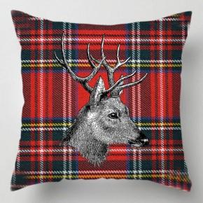 Stag red Tartan cushion
