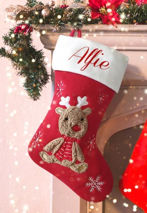 Personalised Christmas Deluxe Stocking, cute reindeer