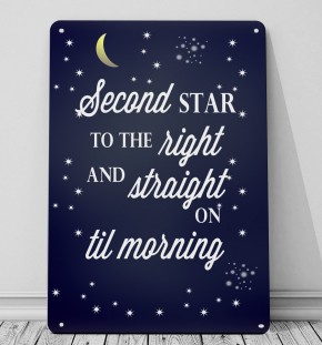 Second star to the right peter pan quote print