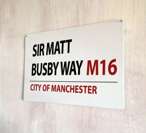 Sir Matt Busby Way Manchester Street Sign