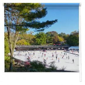 Skating in Central Park New York printed blind