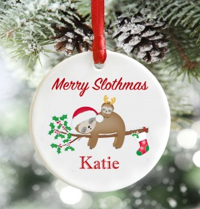 Personalised Slothmas christmas decoration